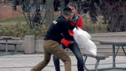 Dude Gets Arrested: Pillow Fight Prank