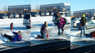This Father Sat Outside His Daughter's School And Laughed As He Filmed Kids Slipping On Ice