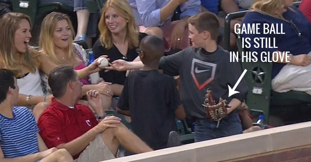 Kid's Got Game: Young Fan Pulls Smoothest Move Ever By Giving Fake Game Ball To Hot Chick