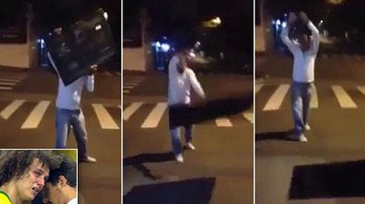 He Went Off: Angry Brazil Fan Destroys TV In The Street After Embarrassing World Cup Loss