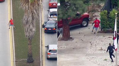 Raw Footage: Suspect Steals BMW Then Tries To Flee On His Skateboard