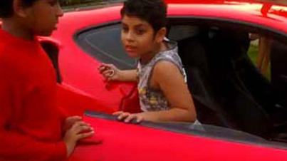 Meanwhile In India: Indian Father Lets His 9-Year-Old Son Drive His Ferrari F430
