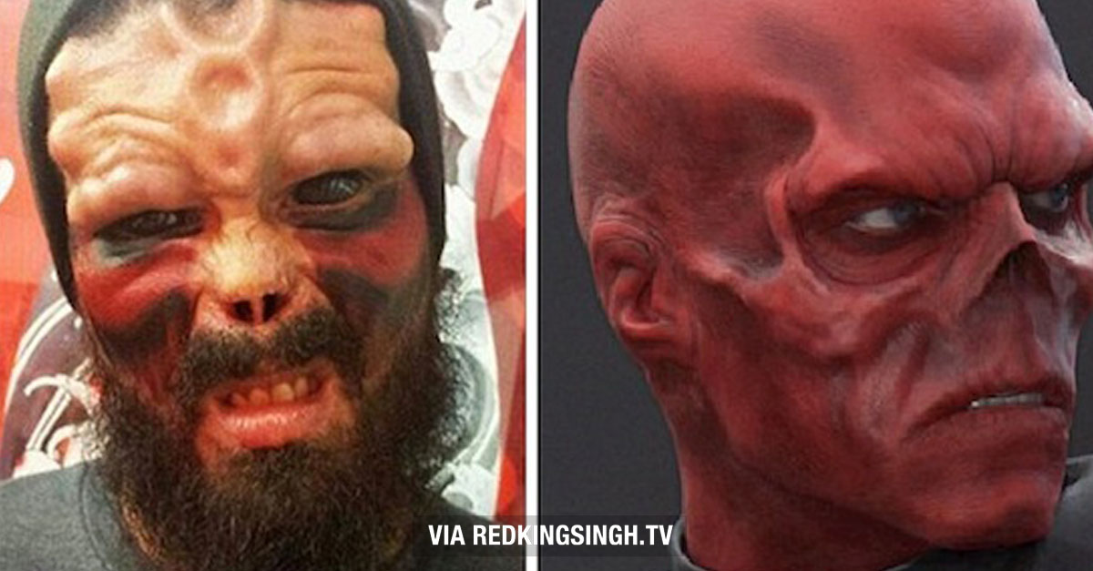Wtf Dude Chops Off His Nose To Look Like Marvel Comic Villain Quot Red Skull Quot Video