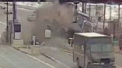 Caught On Film: Driver Loses Control Of Truck And Smashes Into Toll Booth