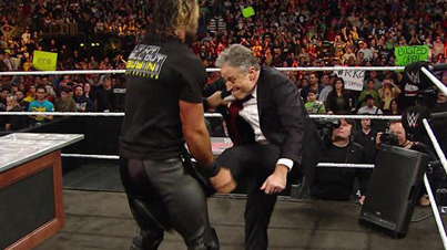 Surprise Motherf*cker: Jon Stewart Kicked Seth Rollins Right In The Nuts On 'WWE's Monday Night Raw'