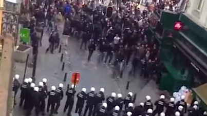 Meanwhile In Belgium: Soccer Hooligans Have A Violent Clash With The Police And Force Them To Run Away
