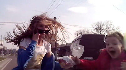 Lucky To Be Alive: Young Girls Get Hit By A Speeding Car By Crossing The Street Without Looking