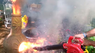 B*tch Don't Kill My Vibe: Dad Makes Epic Leaf Blower Volcano, Gets Yelled At By Wife