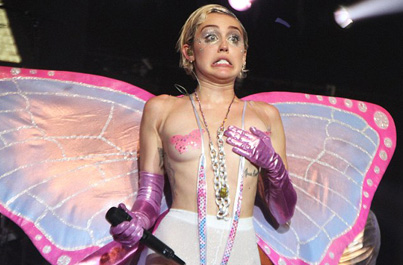 "WTF Happened To Her? Miley Cyrus Covers ""Lick My Pussy"" Dressed As A Slutty Butterfly"