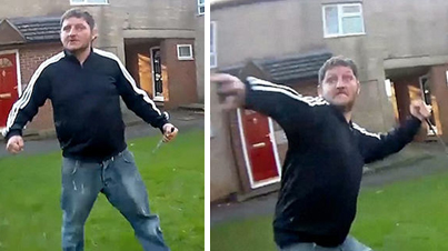 Crazy Man Tries To Stab A Police Officer With An Eight Inch Knife In The UK