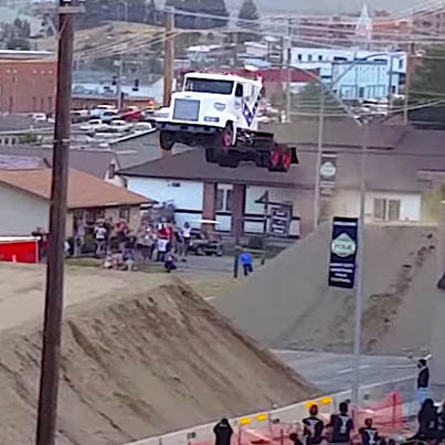 Semi-Truck Breaks The Record For Longest Jump