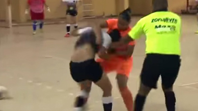 Futsal Player Viciously Kicks Girl In The Neck For Showboating
