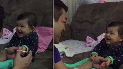 Adorable Baby Girl Fakes Cries To Prank Her Dad
