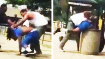 Man Gets Stuffed In A Garbage Can During A Fight