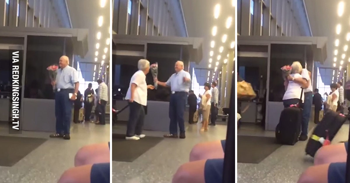 Old Man Waiting For His Wife At The Airport Will Melt Your