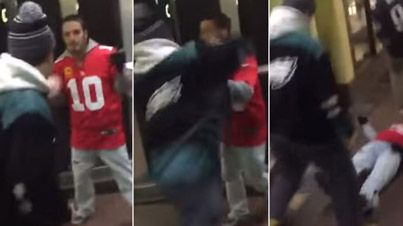 Cocky Football Fan Gets Knocked Out For Running His Mouth