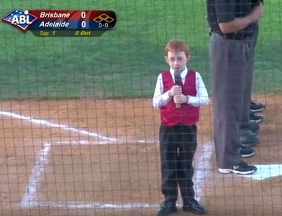 Kid Battles Hiccups While Performing Australian National Anthem
