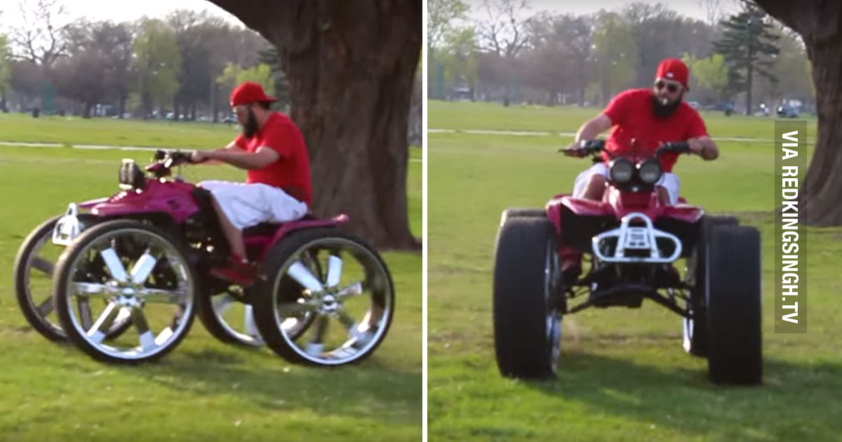 Meanwhile In The Ghetto Man On A 4 Wheeler With 28 Inch Rims Doing