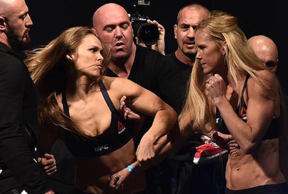 Tensions Run High For Ronda Rousey And Holly Holm At The UFC 193 Weigh-In Face-Offs
