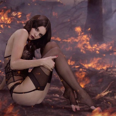 Lingerie-Clad Kendall Jenner Goes Goth For The Holidays