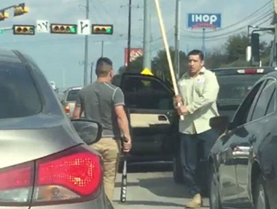 Road Rage Drivers Fight With Baseball Bats And Sticks