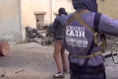 Syrian Insurgent Wearing Skinny Jeans And A Backwards Hat Gets Shot