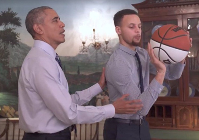 Obama Teaches Stephen Curry How To Play Basketball