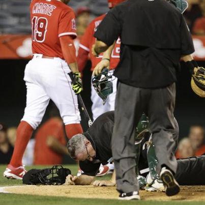 Umpire Starts Leaking After He Gets Hit With A Loose Bat 🤕