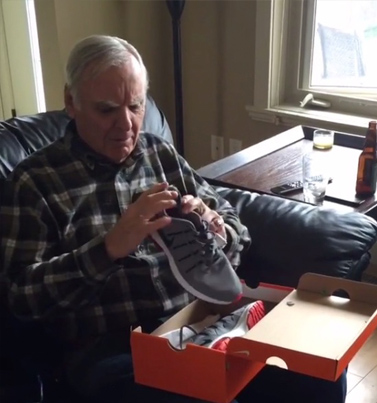 Old Man's Priceless Reaction To Receiving His First Pair Of Light-Up Shoes 😁👟