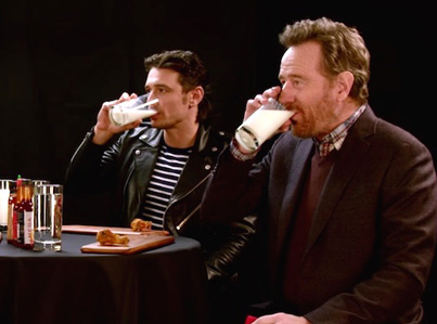 James Franco And Bryan Cranston Eat Wings Of Death