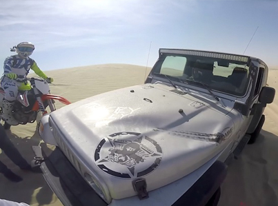 Dirt Bike Rider Lands On Jeep Hood During 100ft Jump 😭😭