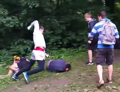 Savage Russian Soccer Hooligan Forrest Fight