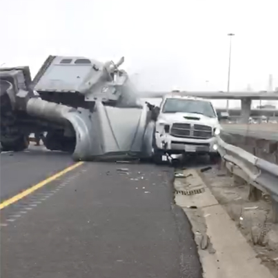 Aftermath Footage: Tractor Trailer Rolls Over And Crashes Into Truck In Toronto 😭😭😭
