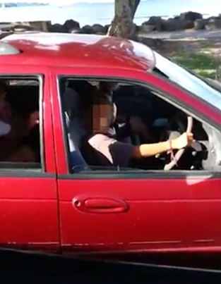 Man Spots An 8-Year-Old Driving A Car Full Of People With A Goat In The Back 😳