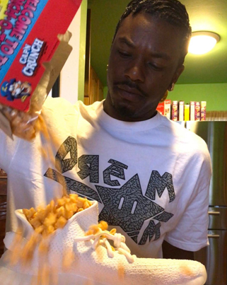 Savage Dude Eats Cap'n Crunch Cereal Out Of His White Yeezy Boost 350's 💔😥