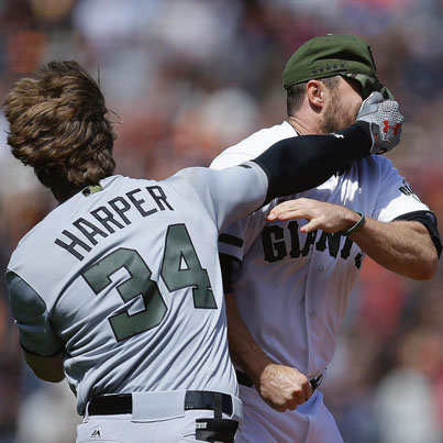 Baseball Player Bryce Harper Throws Hands With Hunter Strickland 😂😭