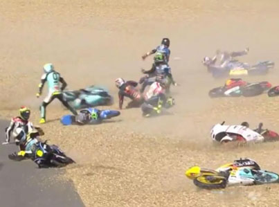 Oil Spill At Motorcycle Race Sends 13 Riders Sliding 😱