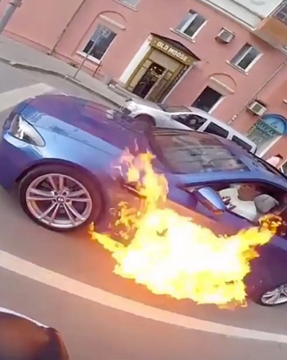 Dude's BMW Bursts Into Flames In Russia 😭😭😭