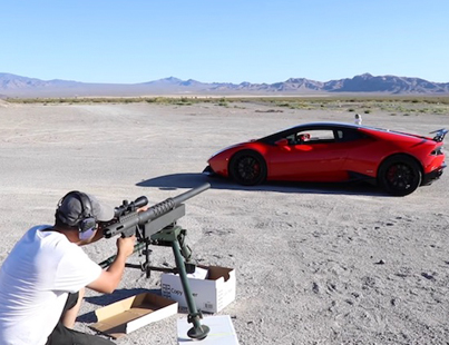 Gun Loving Maniac Shoots A 20MM Through A Lamborghini Huracan 💥😳💥😳