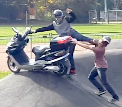 Guy On A Scooter Goes At It With A Dude For Riding His Moped At A Skate Park 😂