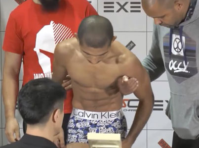 MMA Fighter Barely Makes It Onto Scale After Cutting Weight