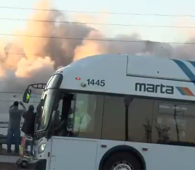 Bus Photobombs The Weather Channel's Stream Of Georgia Dome Implosion 😭😭😭