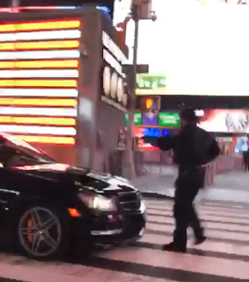 NYPD Cop Gets Hit By A Benz Drifting Through Times Square 😱💨💨💨