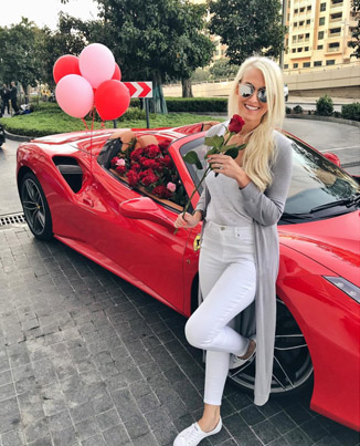 Fire Ting Receives A Ferrari With Flowers For Valentines Day In Dubai 😍❤️🌹