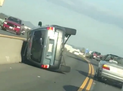 Instant Karma: Idiot Driver Flips His Car After Hitting A Man's Car On A Highway 😂😭💀