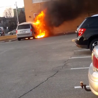 Car Bursts Into Fire At Timmies Parking Lot 😱😂🇨🇦