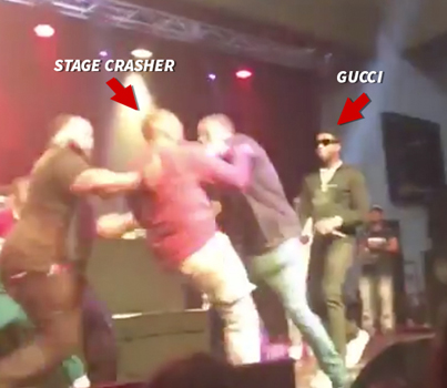 Gucci Mane's Road Manager Body Checks Stage Crasher At Concert 😂😂😂😂😂
