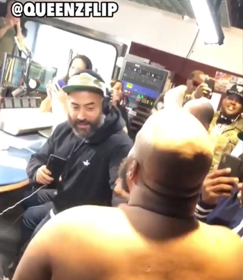 Play Fight Between HOT 97's Ebro And QueenzFlip Turns Serious 😂👋💥