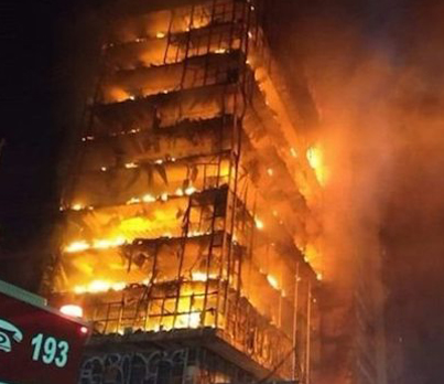 Burning Residential Building In Brazil Collapses 😱🇧🇷