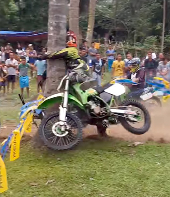 Motocross Driver Slams Face First On To A Tree 🤔👉🌴
